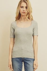 Ribbed Scoop Neck Tee