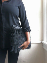 BLACK FAUX FUR / LEATHER CLUTCH