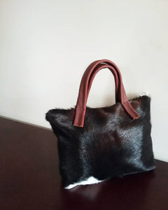 HAIR ON LEATHER MINI DUFFEL