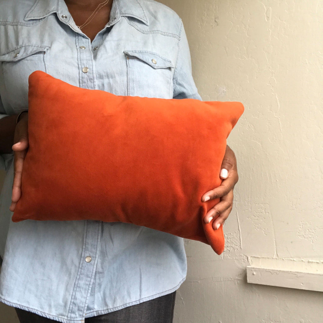 VELVET PILLOW COVER / RUST ORANGE