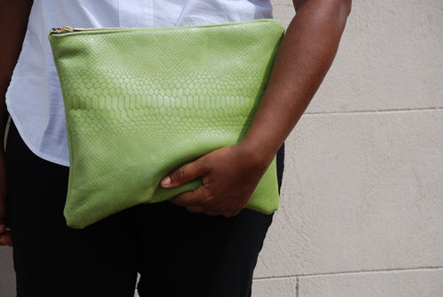 Lime green clutch purse