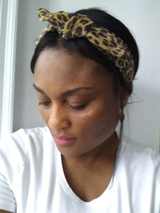 LEATHER LEOPARD HEADBAND