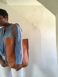 Saddle tan leather bag