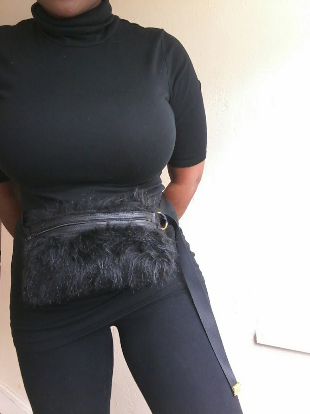 BAG BELT / STANDARD FAUX FUR BLACK
