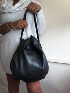 Black leather hobo