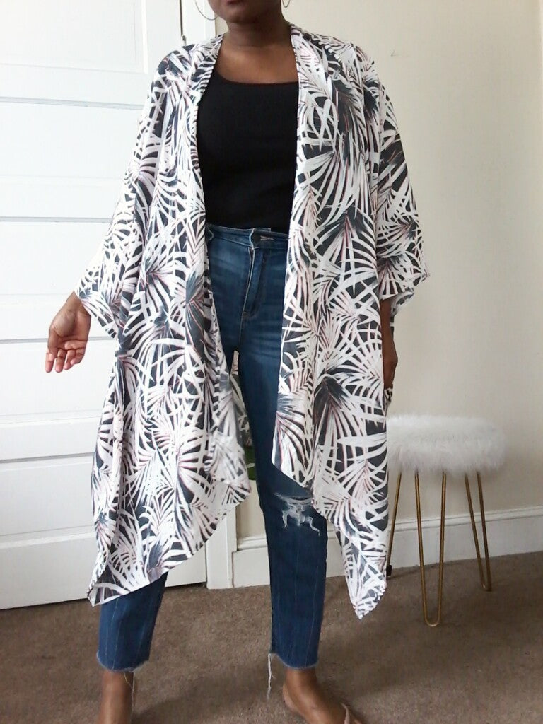 Palm print kimono duster jacket for women