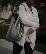 GREY METALLIC SHOPPER