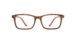 George Horn in spotty tortoise / red