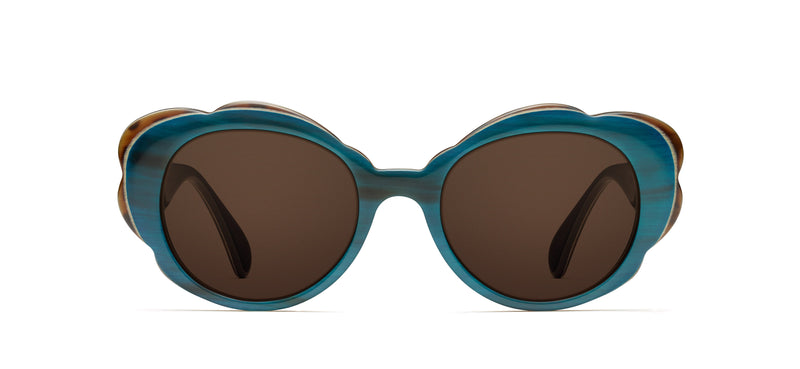 Rosemary Horn in teal / spotty tortoise