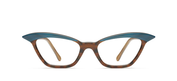 Nina Horn in teal brown / spotty tortoise