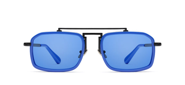 Gentz in black matte / electric blue
