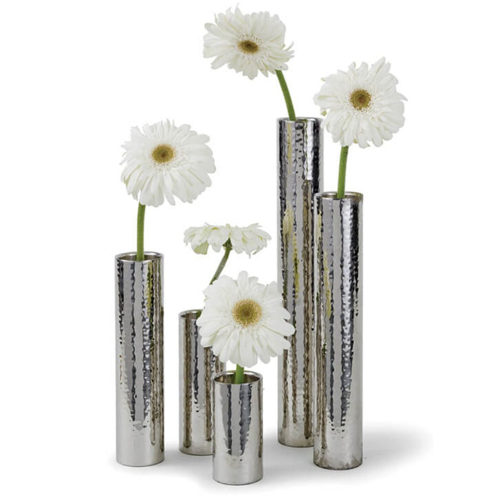 Hammered Bud Vase Set in Polished Nickel design by Regina Andrew