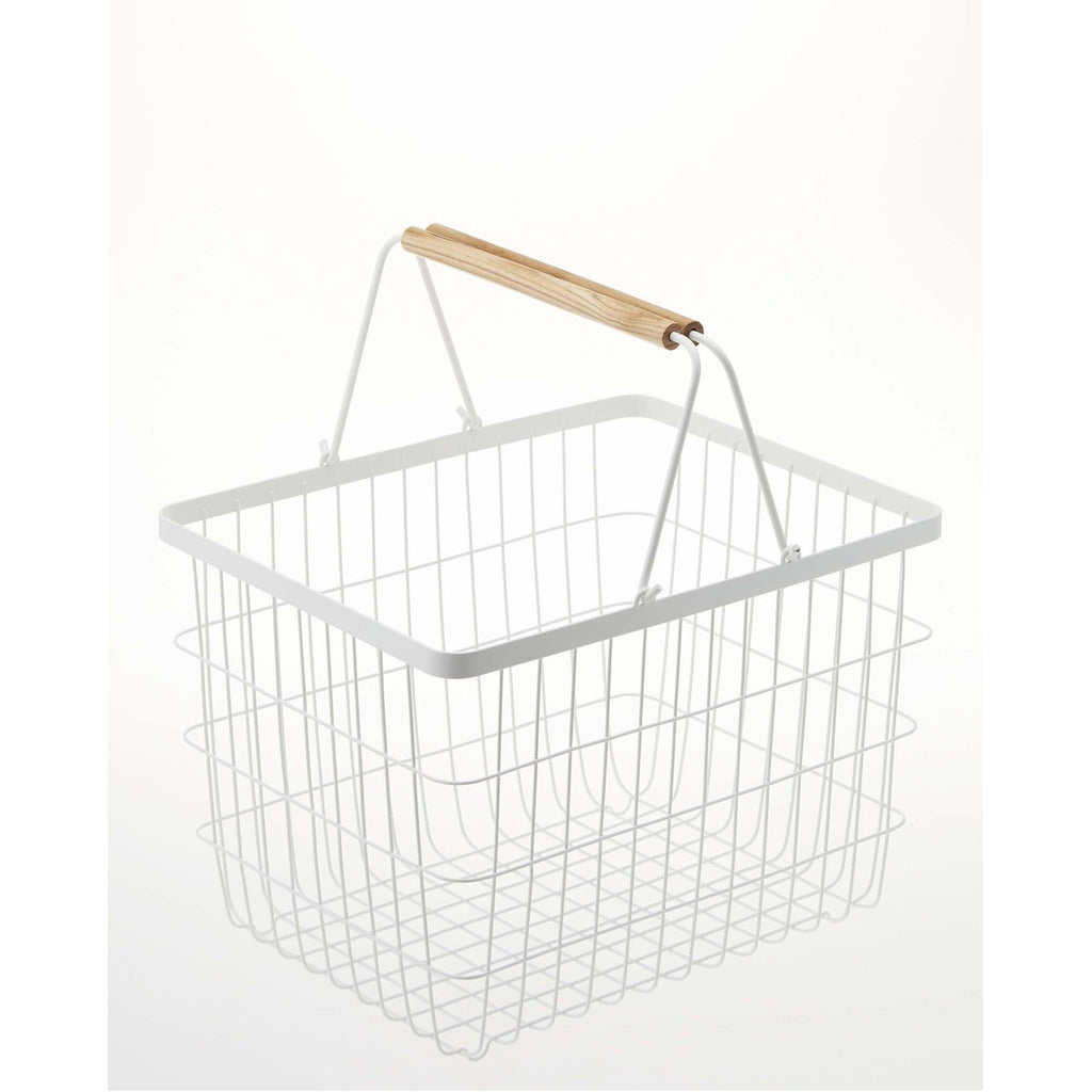 Tosca Wire Laundry Basket - White Steel - Medium by Yamazaki