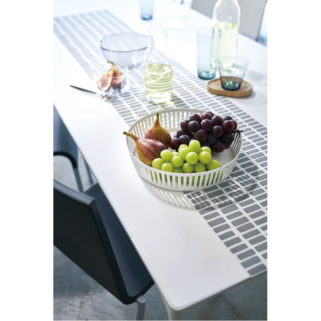 Tower Striped Steel Fruit Basket - Shallow by Yamazaki