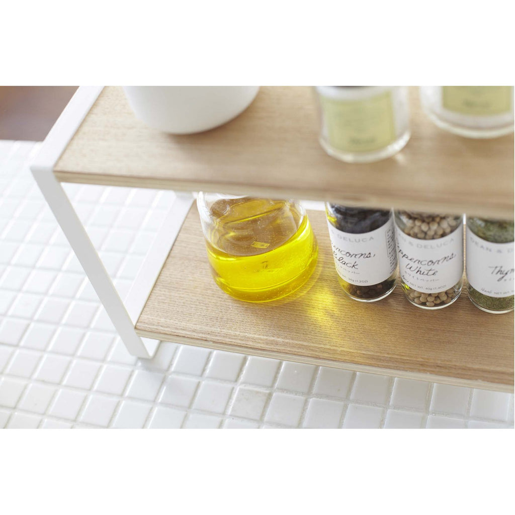 Tosca 2-Tier Countertop Spice Rack - Wood and Steel by Yamazaki