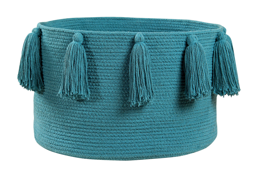 Tassels Basket in Petroleum design by Lorena Canals