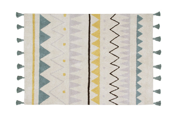 Azteca Natural Rug in Vintage Blue design by Lorena Canals