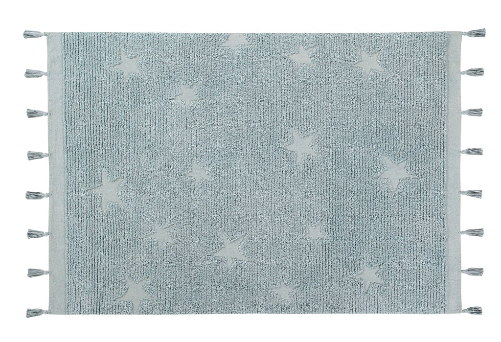 Hippy Stars Rug in Aqua design by Lorena Canals
