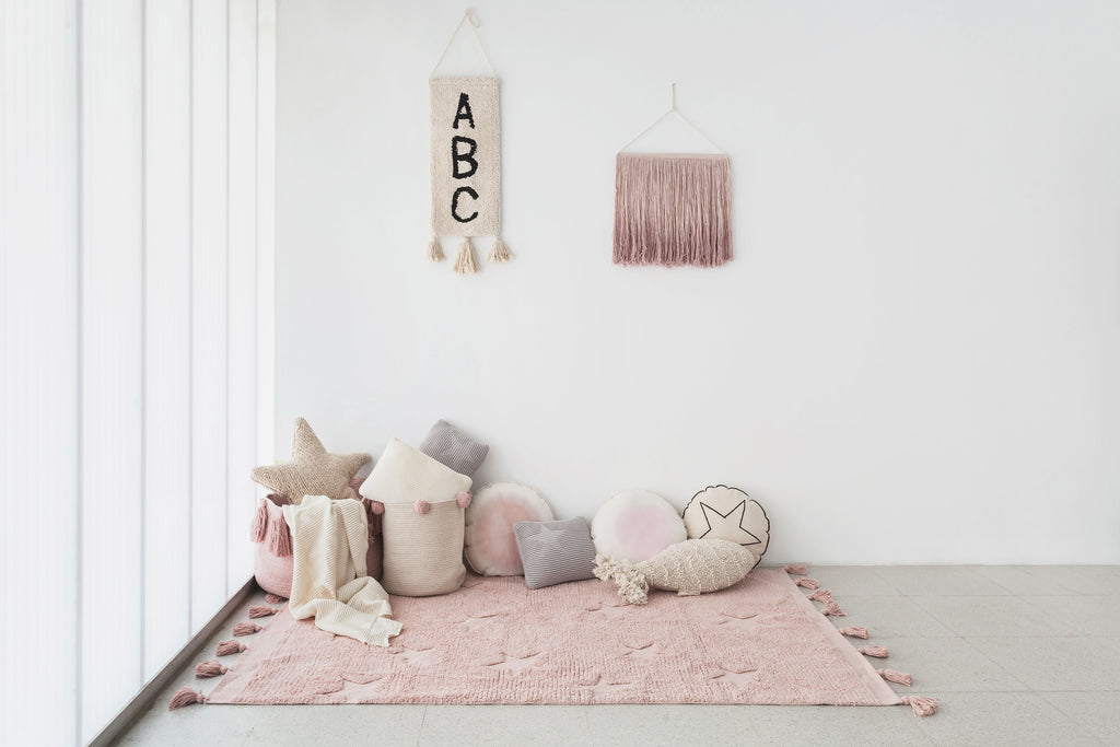 Hippy Stars Rug in Vintage Nude design by Lorena Canals