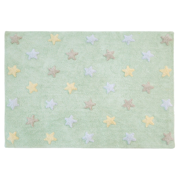 Tricolor Stars Rug in Soft Mint design by Lorena Canals