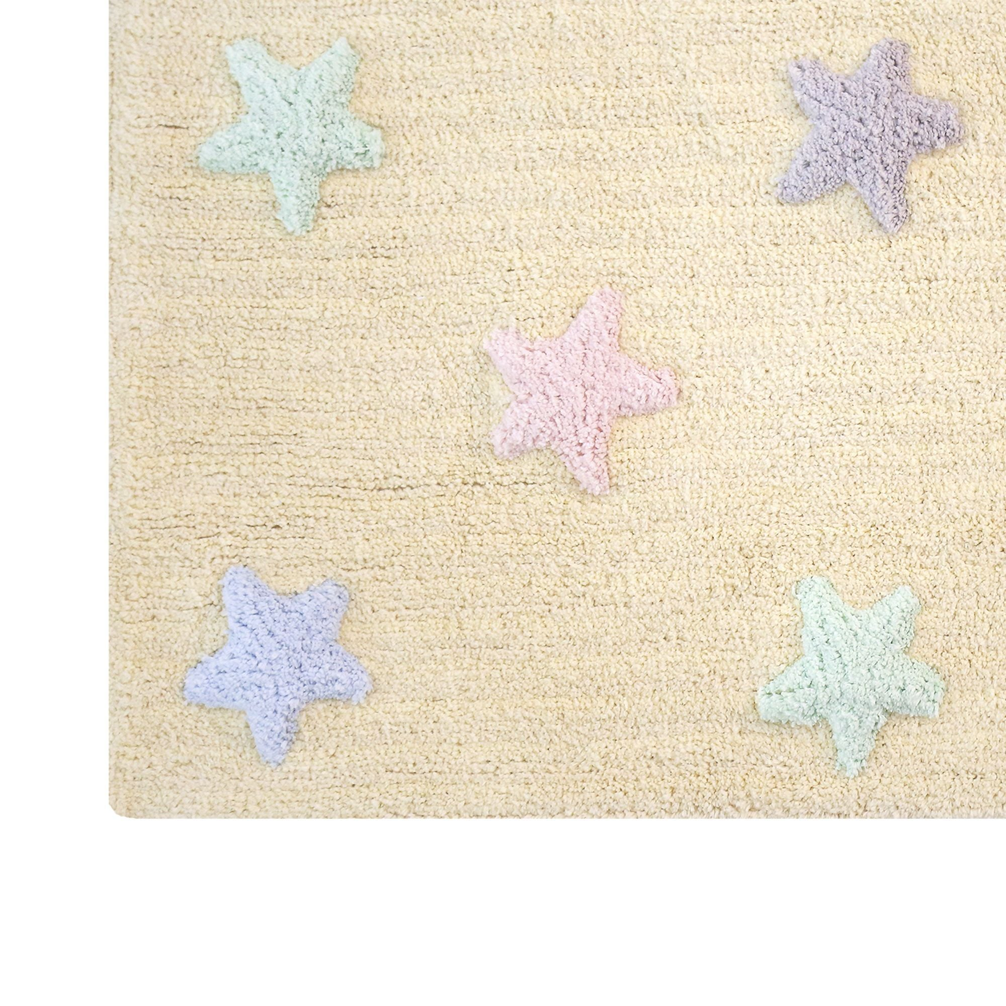 Tricolor Stars Rug in Vanilla design by Lorena Canals