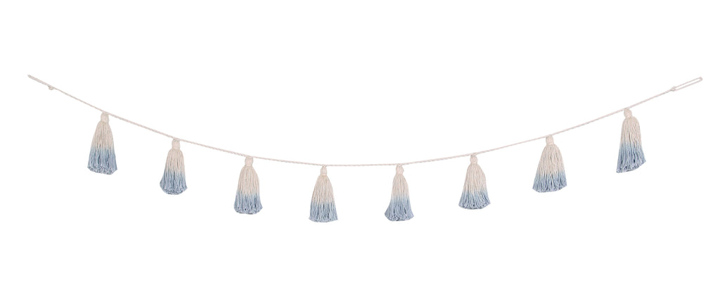 Pom Pom Garland Tie-Dye in Soft Blue design by Lorena Canals