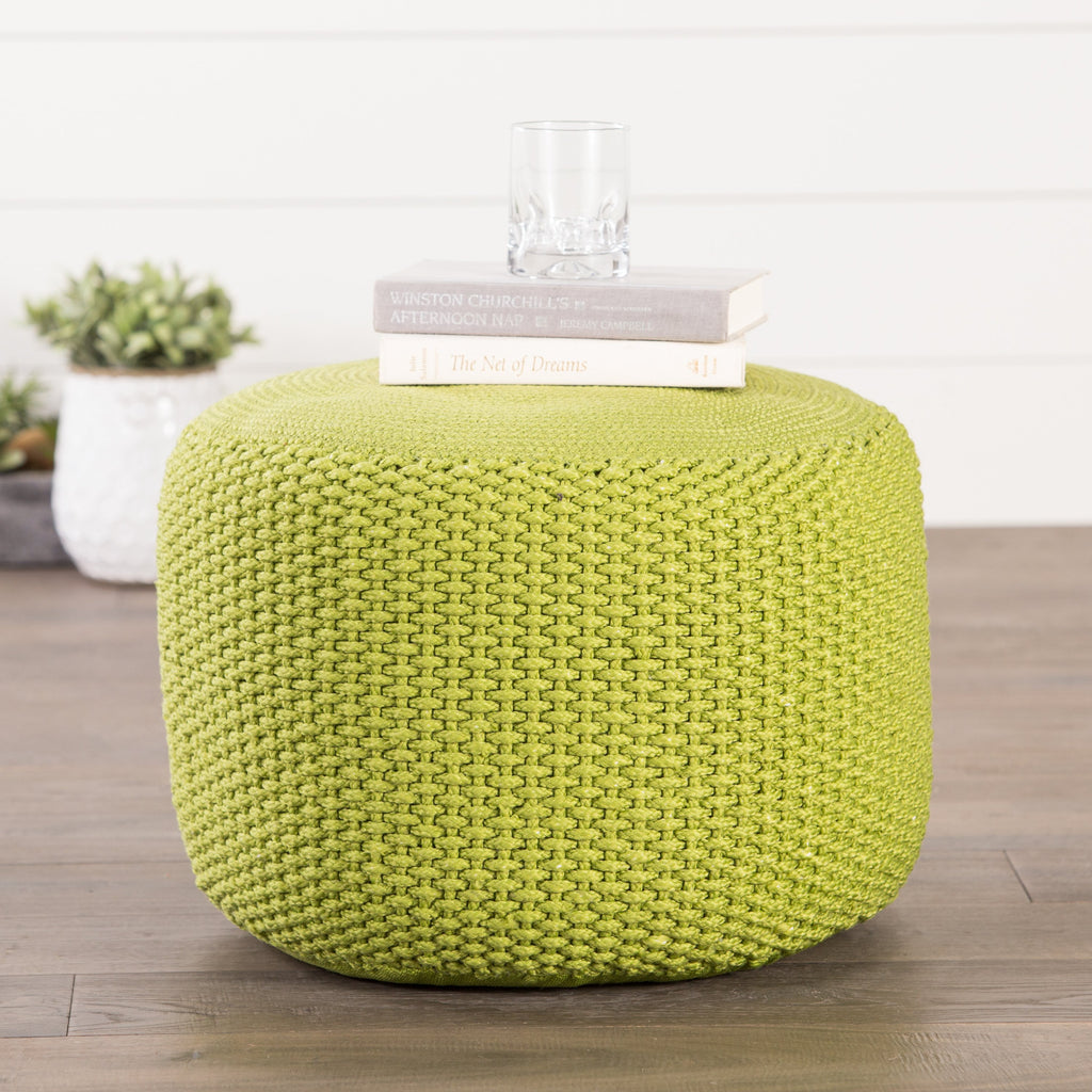Viridis Green Solid Square Indoor/ Outdoor Pouf