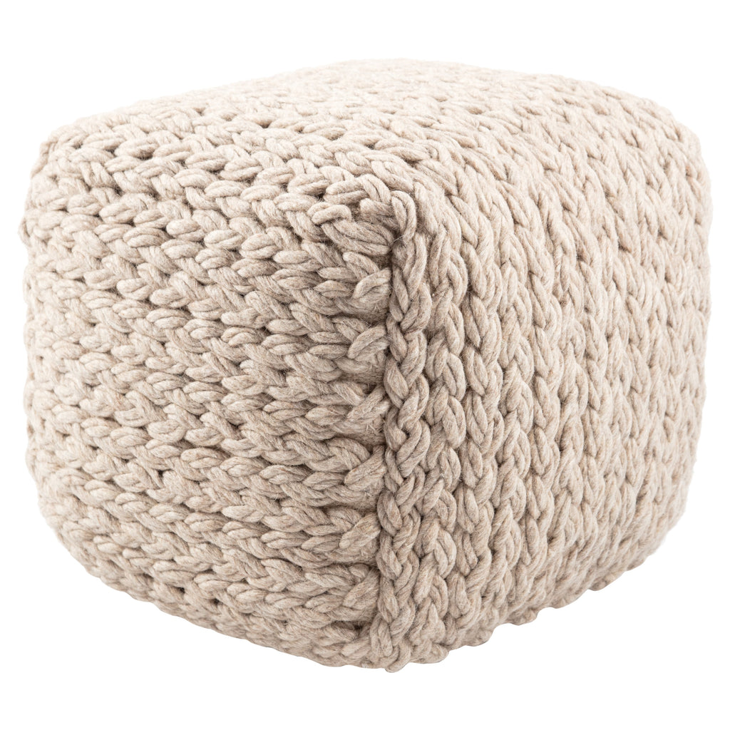 Kyran Cream Textured Square Pouf