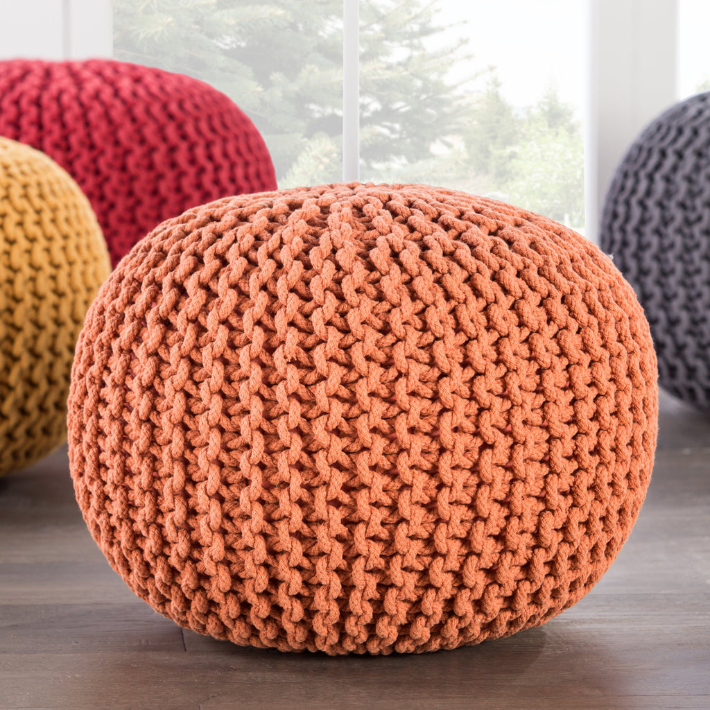 Visby Orange Textured Round Pouf