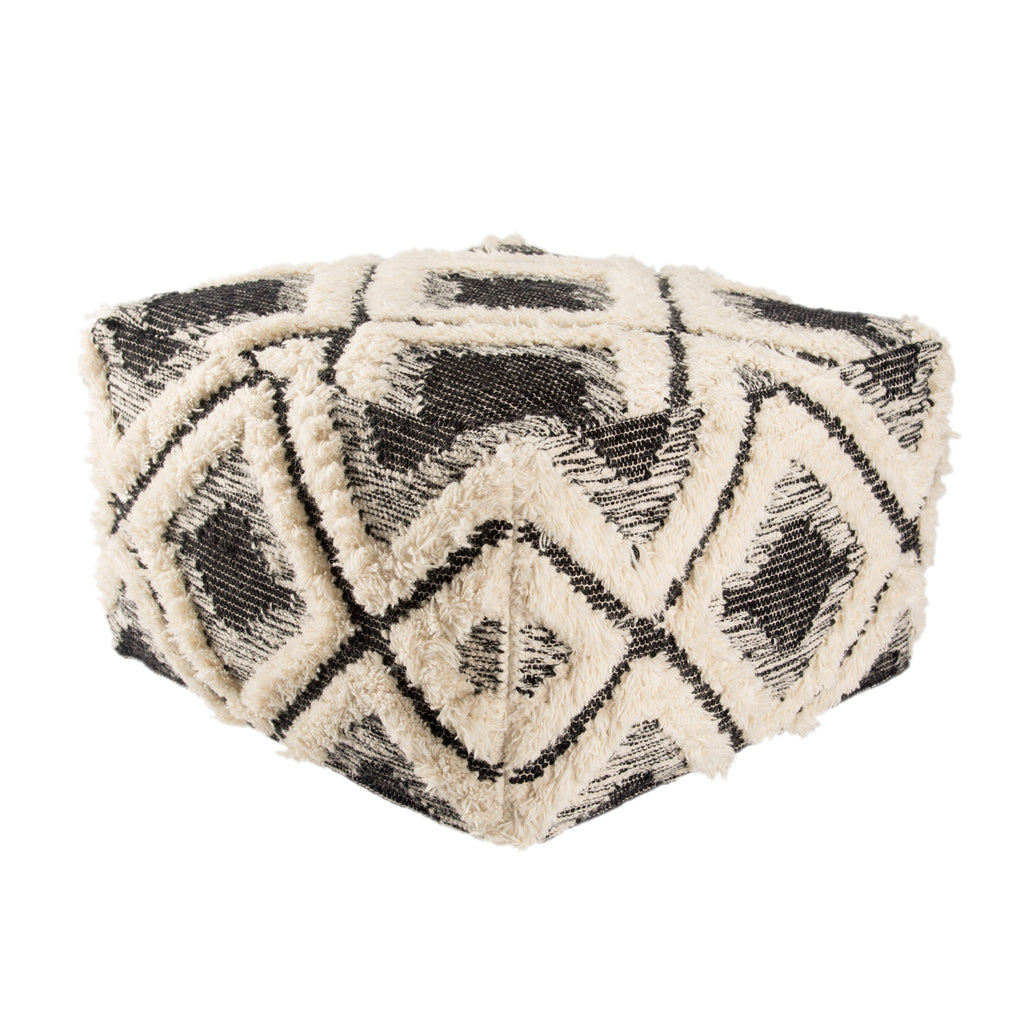 Aaltos Whisper White & Moonless Night Geometric Pouf design by Nikki Chu for Jaipur Living