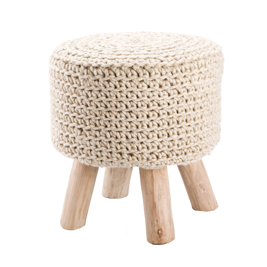 Montana Knitted Cream Stool