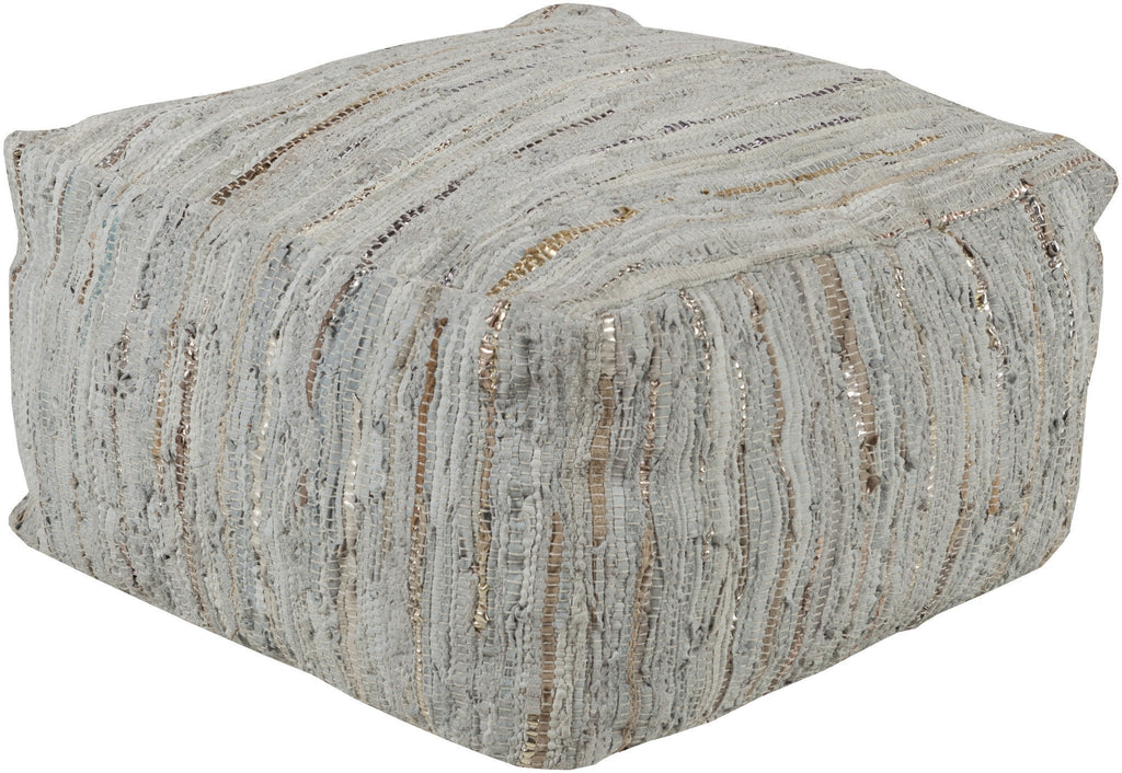 Anthracite Pouf in Silver design by Surya