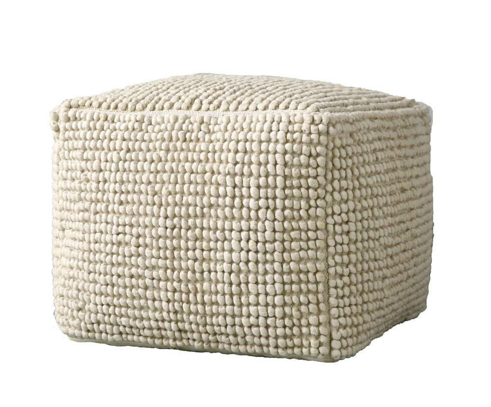 New Zealand Wool & Cotton Pouf in Natural design by BD Edition