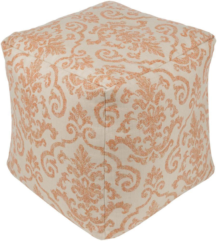 Damara Pouf in Beige & Bright Orange design by Sunbrella
