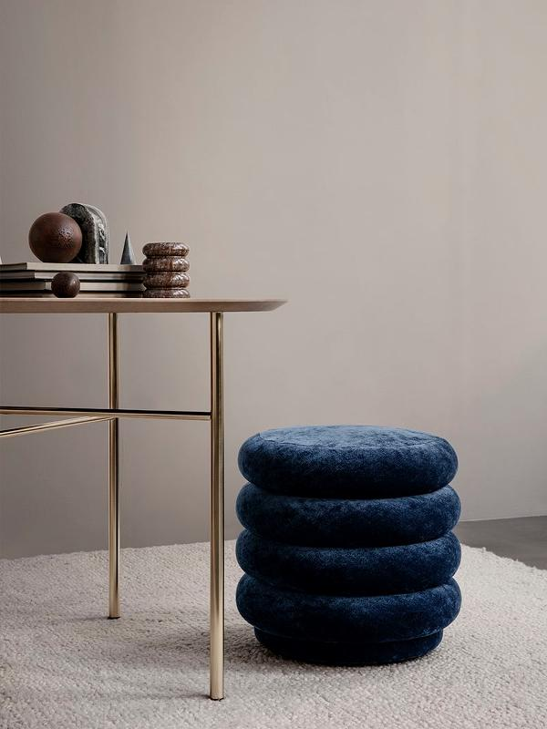Small Round Pouf in Ocean by Ferm Living