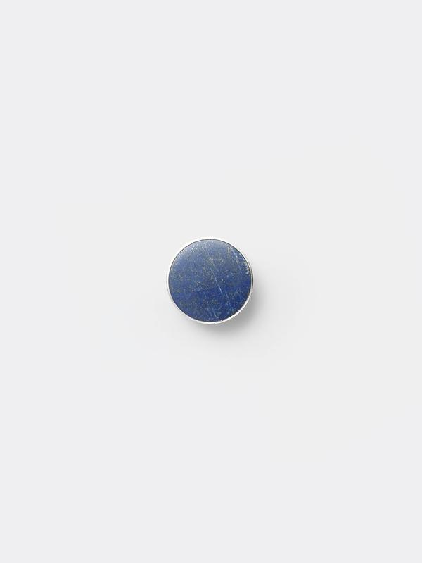 Large Steel Hook in Blue Lapis Lazuli Stone by Ferm Living