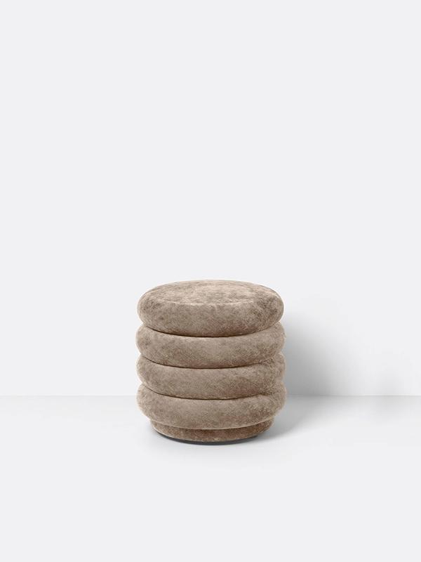 Small Round Pouf in Beige by Ferm Living