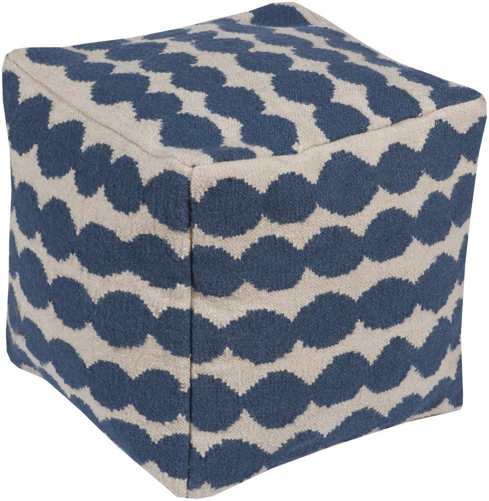 Lotta Jansdotter Pouf in Dark Blue & Cream design by Lotta Jansdotter