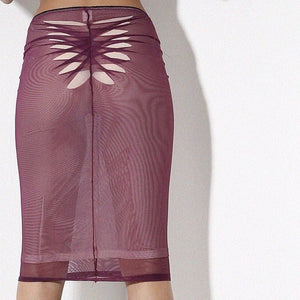 Elastic mesh midi slip skirt with origami  triangular cutouts detail  in back and front .