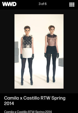 White or black tulle tops with origami folded 3D tulle cubes front details,