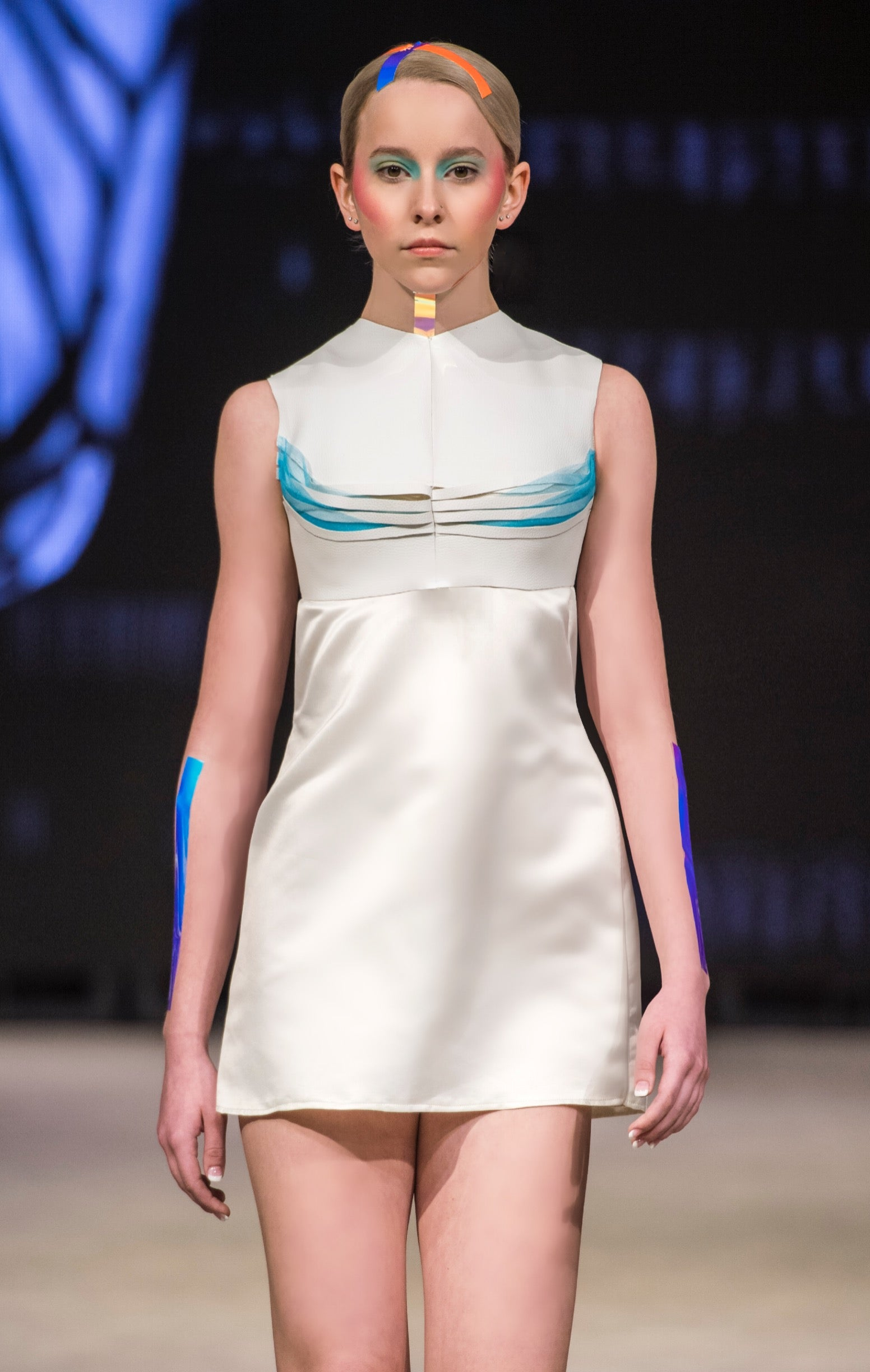 White cotton dress with leather back zip crop top  white leather and neon blue origami crop top