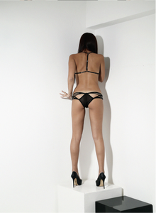 "Black elastic straps in triangular pattern  ""Kandinsky""panty."