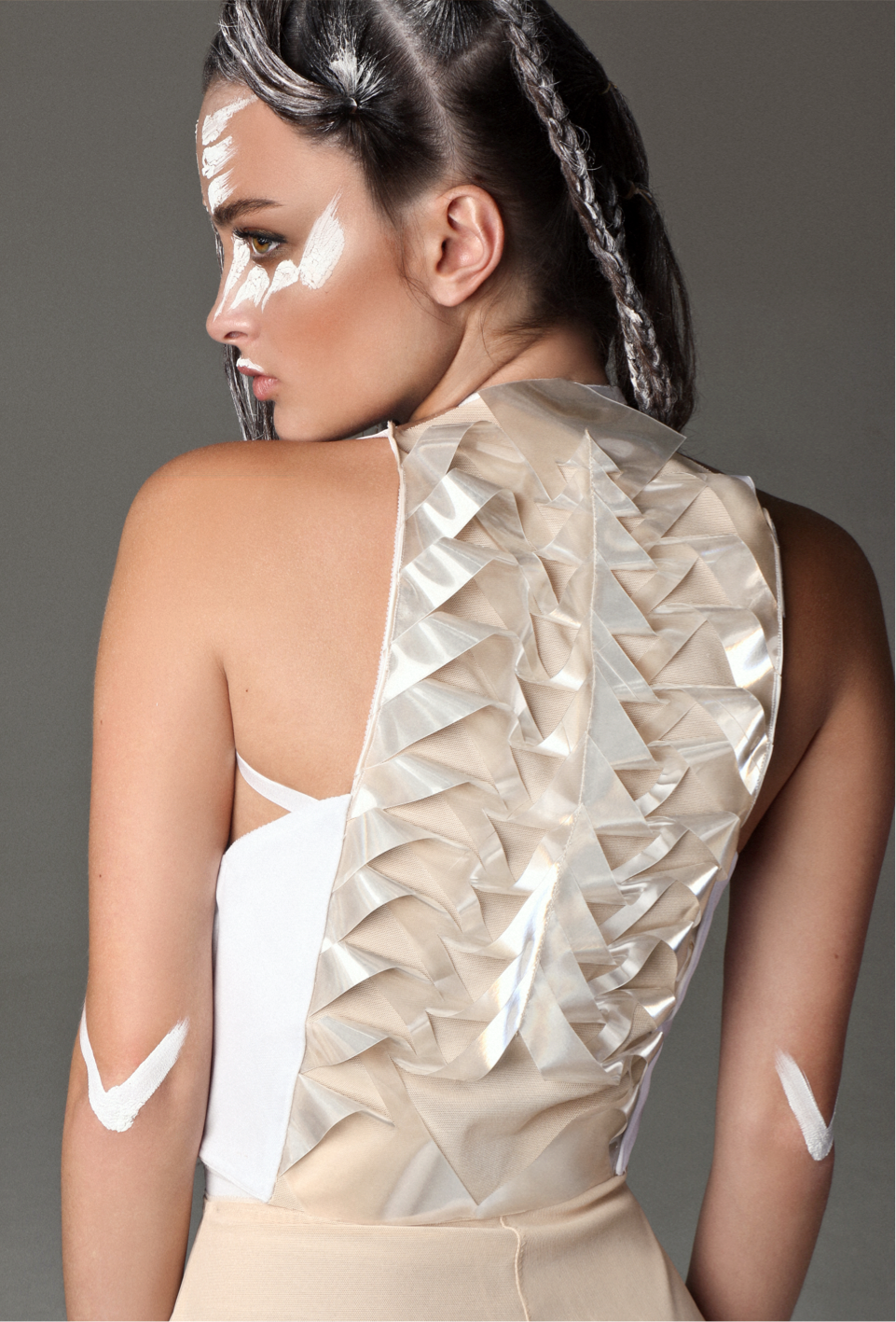 White front elastic harness with origami  back detail in acrylic (or white vegan  leather as well)