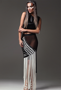 Long op art black and white vegan leather hand interwoven straps  long skirt .