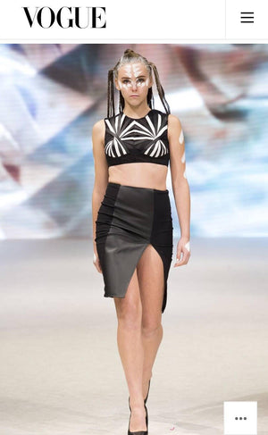 Op art  black and white vegan  leather hand woven straps crop top .