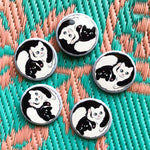 "Lot de 5 grands badges ""Yin et Yang"""
