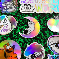 "Sticker ""Worry"" holographique"
