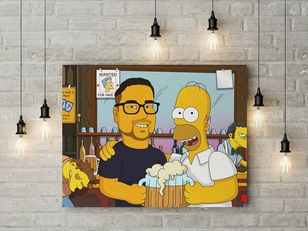 Custom Canvas A Beer with Homer