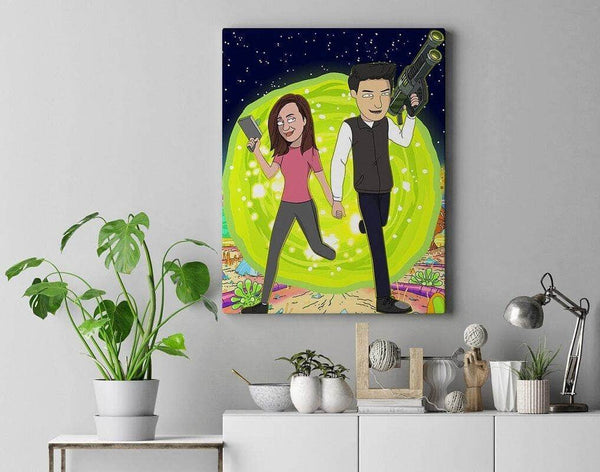 Custom Rick and Morty Canvas Space Travel