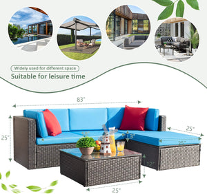 Furniwell 5 Pieces Patio Furniture Sets All-weather Outdoor Sectional Sofa  Rattan Patio Conversation Set with Cushion and Glass Table, Multiple Colors